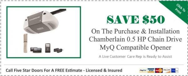Chamberlain 0.5 HP Chain Drive MyQ Compatible Garage Door Opener