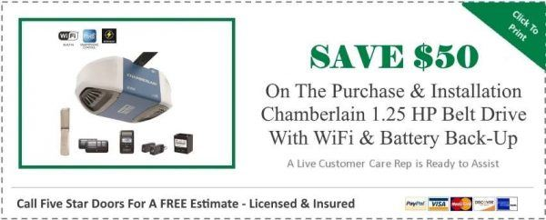 Chamberlain 1.25 HP Belt Drive Opener Coupon