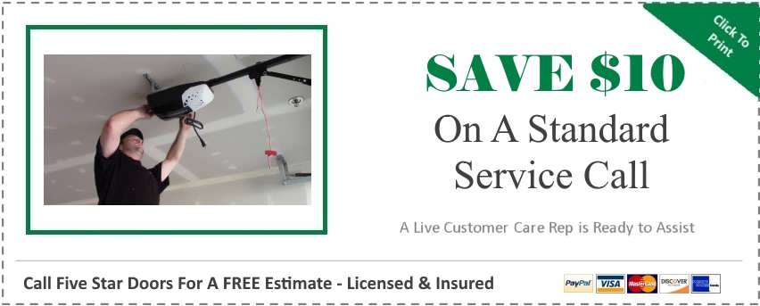 "alt=""Five Star doors service call coupon for customers in Canton, Belleville, Garden City, Plymouth, Wayne, and Westland Michigan where Five Star Doors has been providing garage door repair services since 1991."""