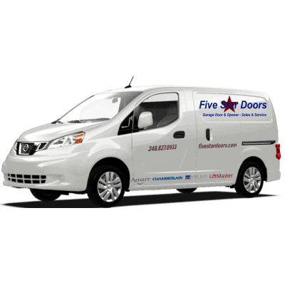 "alt=""A white commercial utility van that Five Star Doors uses to provide garage door repair to residents of S.E. Michigan"""
