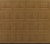 """alt="""" Amarr short panel garage door in golden oak"""""""