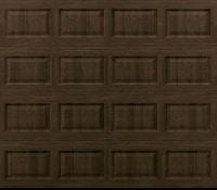"""alt="""" Amarr short panel garage door in walnut"""""""