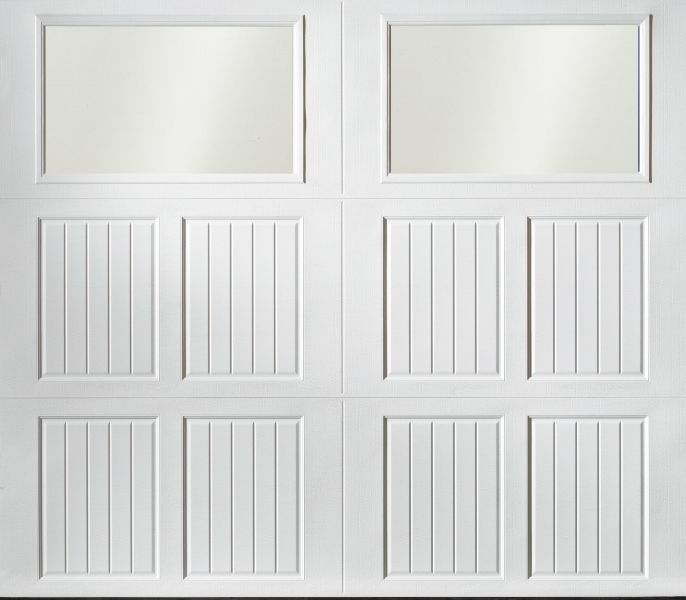 """alt="""" Amarr Classica carriage house door style Tuscany Frost True White"""""""