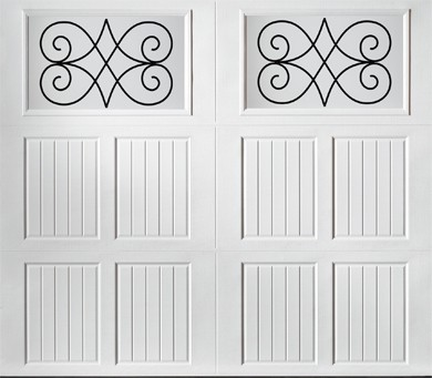 """alt="""" Amarr Classica carriage house door style Tuscany Jardin True White"""""""