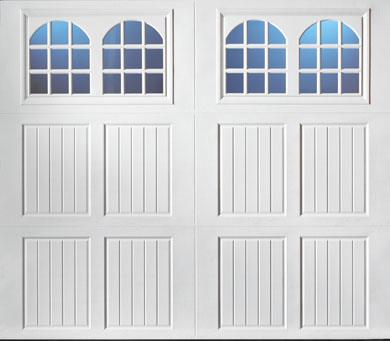 """alt="""" Amarr Classica carriage house door style Tuscany Rhine True White"""""""