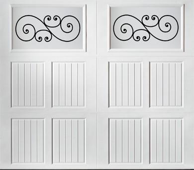 "alt="" Amarr Classica carriage house door style Tuscany Trellis True White"""