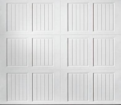 "alt="" Amarr Classica carriage house door style Tuscany closed square True White"""