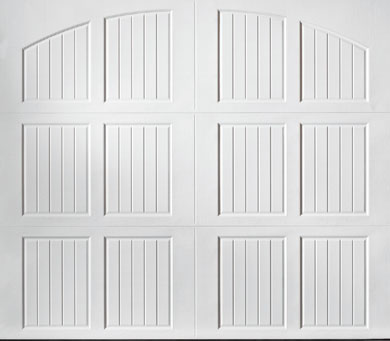 """alt="""" Amarr Classica carriage house door style Tuscany closed arch True White"""""""