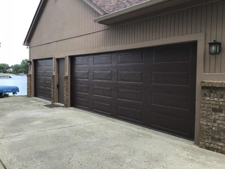 """alt=""""South Lyon garage door installation of 2 Amarr doors in Brown"""""""
